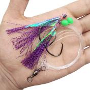 Shaddock Fishing 30 Pack Sabiki Fishing Rigs Fishing Flasher Lures Baits Hooks with Luminous Beads/Fish Skin/Barrel Swivel