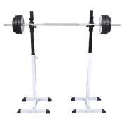 Anself Pair of Adjustable Standard Solid Steel Squat Stands Barbell Rack Set Free Bench Press Stands