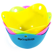 Egg Poacher Cups - Premium Silicone Poaching Pods - BPA Free - FDA Approved - For Stovetop or Microwave - Dishwasher Safe - Set of 4 Colourful Pods