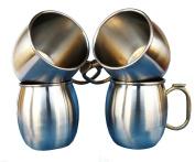 Rastogi Handicrafts Set of-4, Stainless Steel Moscow Mule Mugs Capacity-470ml Double-Wall Insulated ,thumb brass handle Coffee Mug / Beer Mug / Cup, Moscow Mule Mugs.
