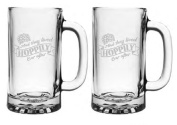 'Hoppily Ever After' Set of 2 Beer Mugs / Steins - Weddings Toasts, Anniversary Gift