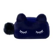 Funbase Cute Soft Plush Cosmetic Makeup Cartoon Cat Design Storage Bag Pen Pencil Pouch Case Blue