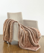 BOON Oversized Luxury Faux Fur Throw, Otter, 130cm x 180cm