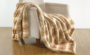 BOON Oversized Luxury Faux Fur Throw, White Fang, 130cm x 180cm