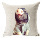 """Cotton Linen Square Decorative Throw Pillow Case Cushion Cover Cute Pet Miniature Adorable Pig Cosplay Cool Baby 46cm X18 """""""