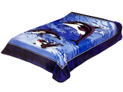 Korean Solaron Super Thick Mink Blanket Twin Size 160cm x 220cm 3 Whales BM121