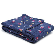 Cosy Ditzy Floral Blanket. 130cm x 150cm . Plush Fleece Throw. Navy Floral Throw