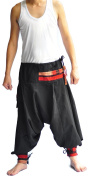 Men's Pants One Size All Black Hill tribe design unique on waist and ankle
