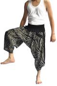 Siam Trendy Men's Japanese Style Pants One Size Black two tone zebra design