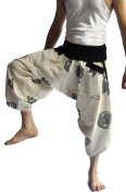 Siam Trendy Men's Japanese Style Pants One Size White with leaf Design
