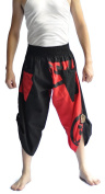Siam Trendy Men's Japanese Style Pants One Size Black and Red Japanese