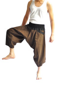 Siam Trendy Men's Japanese Style Pants One Size Brown two tone