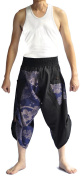 Siam Trendy Men's Japanese Style Pants One Size Black and blue fish design