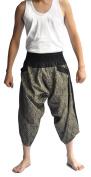 Siam Trendy Men's Japanese Style Pants One Size Black Thai art Design