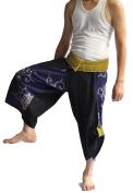 Yoga Herem Pants Belly Dance Fitness Workout Pants Black and Blue Thai art