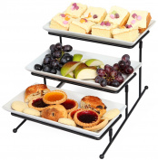 Kenley 3 Tier Serving Tray Tiered Stand – Three-tiered Cake Cupcake Appetiser Dessert Fruit Finger Food Display Platter Server Plate for Parties - Steady Galvanised Metal Frame Rack