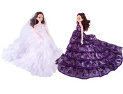 Fengirl 2 Pack Handmade Wedding Dresses Ball Gown with Ruffles Clothes for Barbie Doll Girl Birthday Christmas Holiday Gift