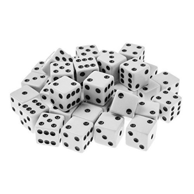 Greenter 100 White Dice with Black Pips Dots- 16mm