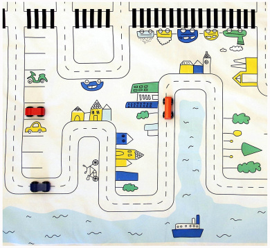 Car roads Cotton Play Mat, City roads Rug, playing carpet, toddlers cars playmat