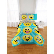 Super Cute, Soft and Trendy Emoji Nation Forever Happy Bed-In-A-Bag Bedding Set, Exclusive, Blue/Yelow, Full