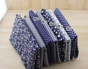 7 Pc Cloth Fabric Cotton Fabric for Quilting 50*50cm - Dark Blue Series