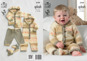 King Cole Double Knitting Pattern Splash DK Baby Set Knitted Coat Trousers and All In One 3769