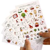 Qingsun 6 Sheets Cute Bunny Rabbit Charactor Sticker Cartoon Diary Scrap Book Scrapbooking Decor Decoration Lot Korean Stationery