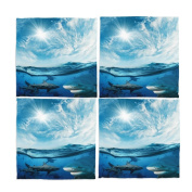 Naanle Shark Under Sea Washable Placemats 30cm X 30cm Set of 4 Place Mats for Dining Table