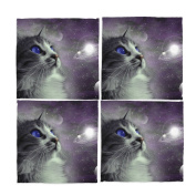 Naanle Cat Galaxy Space Nebule Washable Placemats 30cm X 30cm Set of 4 Place Mats for Dining Table