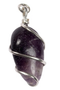 Amethyst Wire Wrapped Tumbled Pendant