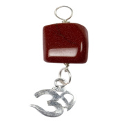 1 (One) Brown Goldstone Tumbled Pendant With Om