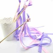 Mandydov 20pcs Ribbon Wands Twirling Wedding Favour Party Ribbon Streamers Stick