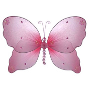 The Butterfly Grove Emily Butterfly Decoration 3D Hanging Mesh Organza Nylon Decor, Pink Carnation, Small, 13cm x 10cm