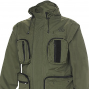 FLADEN Authentic Wear Fully Waterproof and Windproof Outdoor Utility Jacket with Removable Arms - Woodland Forest Camouflage and Khaki Designs - Ideal for Fishing, Hunting & Similar Pursuits