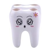 Awakingdemi Novelty 4 Hole Tooth Style Toothbrush Holder Bracket Container For Bathroom