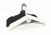 12 Set Heavy Duty Hangers White & Black Plastic Adult Top Cloth Coat Suit Closet Organisation Hanger
