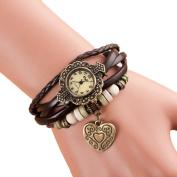 Bracelet Set RIUDA 1907.8lz Weave Around Leather Bracelet Lady Woman Wrist Watch