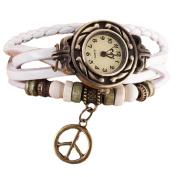 Lookatool® Lady Women's Peace Symbol Quartz Weave Around Leather Bracelet Wrist Watch