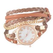 Godagoda Women Multilayer Weave Wrap Link Leather Bracelet Quartz Wrist Watch