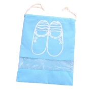 Pack of 5 Canvas Travel Shoe Bags with Transparent Window Dustproof Pouches Case to Save Space Portable Breathable Shoes Bags with Drawstring