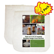 """iAesthete Nut Milk Bag- 2 Pack - (12""""x12"""") Multiple Reusable Food Strainer, Cheesecloth, Food Grade Nylon Materials, Filter For Almond/Soy Milk, Fruit Juice, Coffee and Tea"""