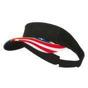 Flag Design Cotton Twill Visor - Black
