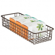 mDesign Wire Storage Basket for Kitchen, Pantry, Cabinet - Bronze