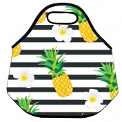 Estrellaw Tropical Pineapple And Flower In White Lunch Bag