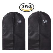 Yamde 2Pcs Black Breathable Garment Bag 100cm Dress / Garment Cover - Full Zip - with Secret Internal Zipped Pocket