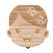 Baby Teeth Box,Muxika Baby Boy Girl Kids Cute Personality Milk Tooth Box Organiser Teeth Save Wood Storage Box Deciduous Souvenir (A