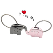 VANKER One Pair Fantastic French Kiss Elephant Couple Keychain Valentine Gift,Pink Black