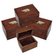 DakshCraft Jewellery Boxes Brass Inlay Elephant Design, Set fo 4
