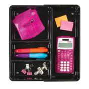 mDesign Expandable Office Drawer Organiser for Pens, Pencils, Scissors - 30cm x 18cm x 5.8cm , Black