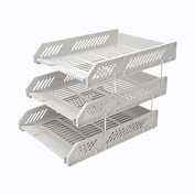 Comix Office File Tray Three Stackable Layers with Metal Brackets - Grey